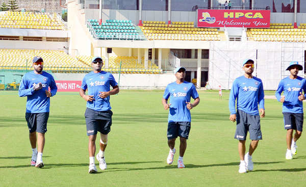 Indian players practicing at the HPCA stadium in Dharamsala