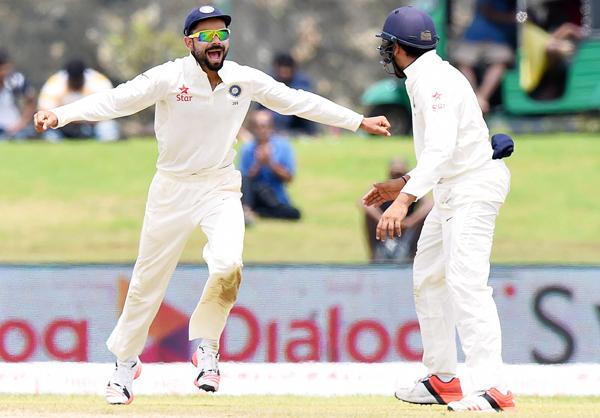 Kohli celebrates in SL