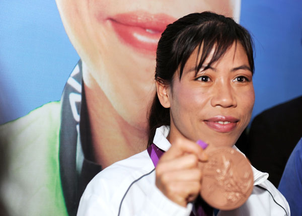 Mary Kom with her London Games bronze medal