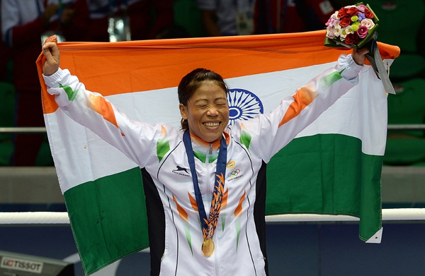 Mary Kom celebrating her gold at 2014 Asian Games