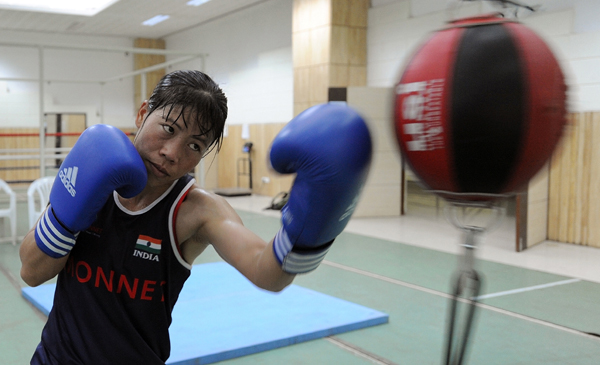 Mary Kom during intense practice in Pune