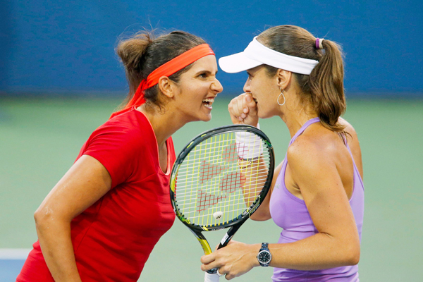 Sania with Hingis at US Open