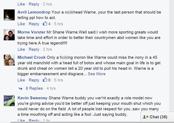 Comments on Warne post