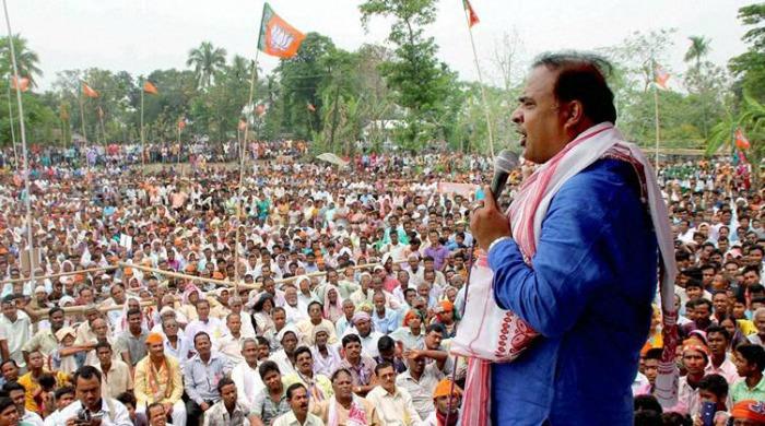 Dr Himanta Biswa Sarma addressing at an election rally