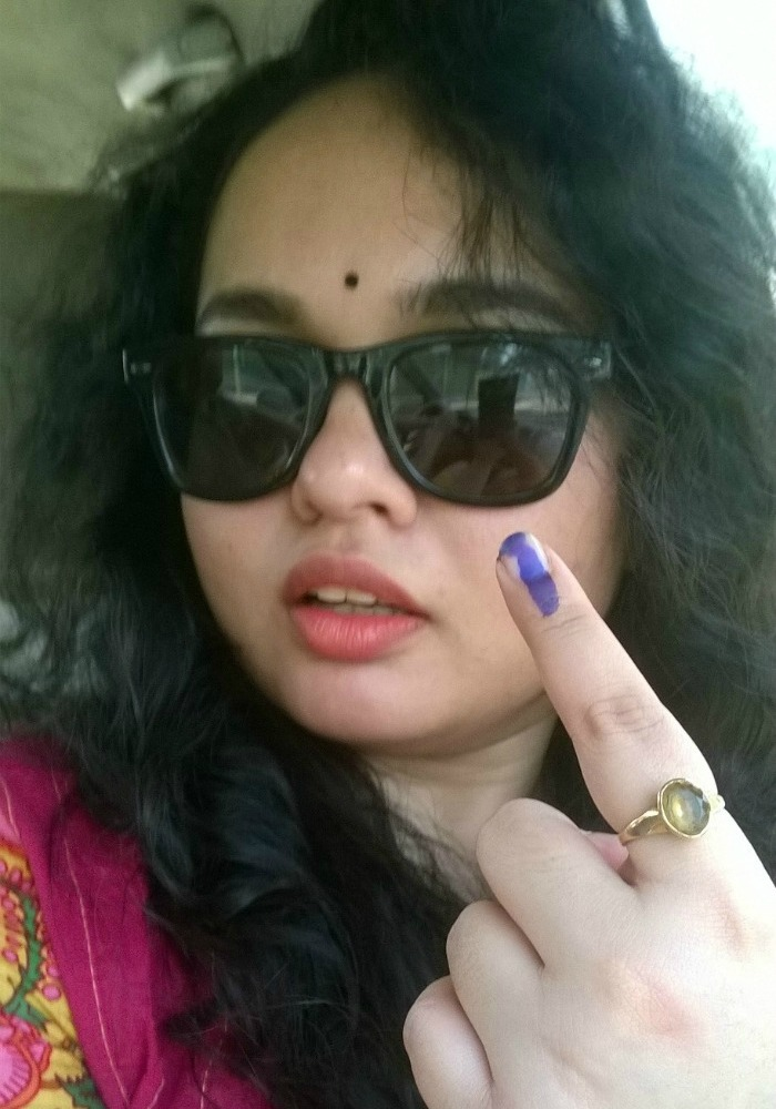 Rupamudra Kataki after casting her vote in the Dispur constituency