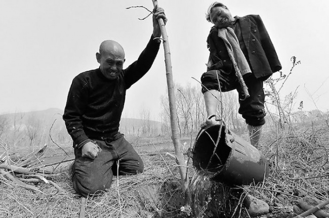 two friends planting trees