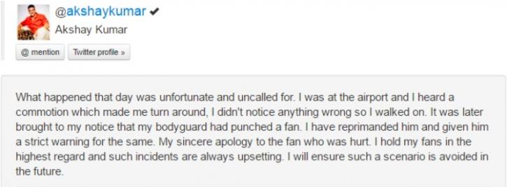 akshay kumar apology