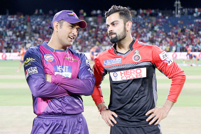 Dhoni and Kohli at the toss
