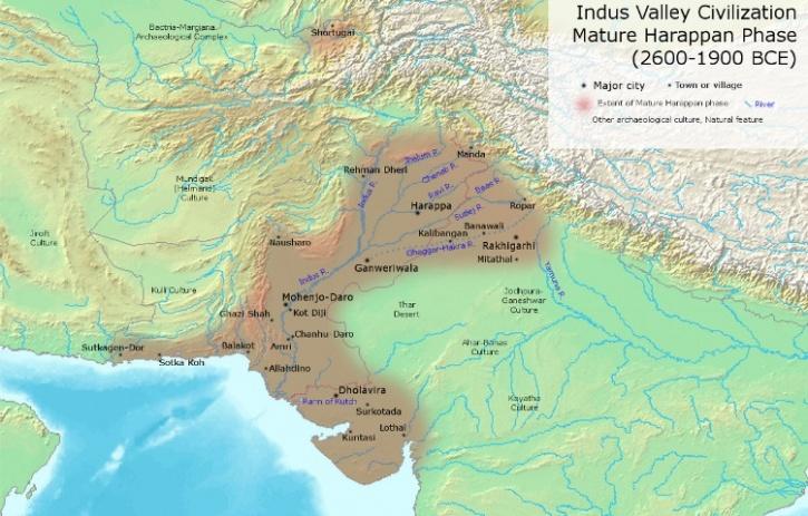 Map of matur Indus Valley Sites