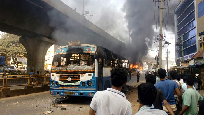 Cars And Buses Are Being Set On Fire In Bengaluru As Garment Workers Fight New EPF