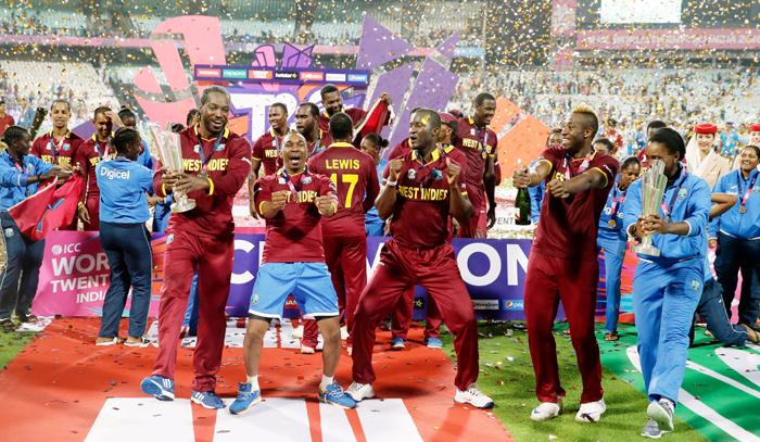 West Indies team celebrates