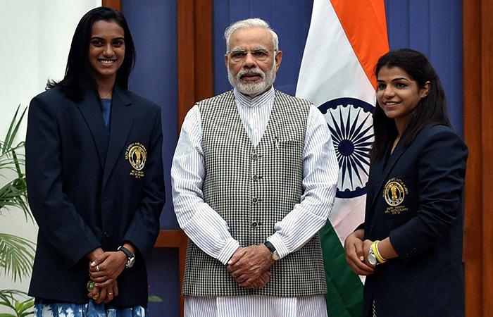 PV Sindhu, Narendra Modi and Sakshi Malik