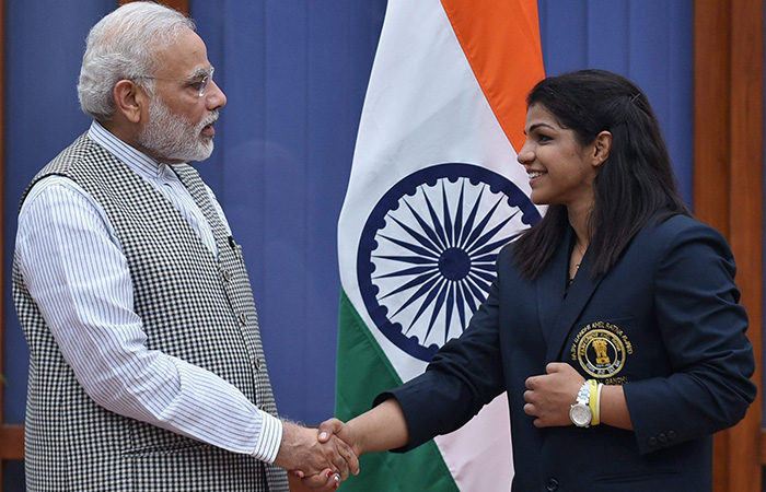 Narendra Modi and Sakshi Malik