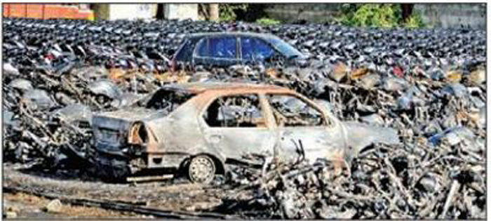 400 Bikes Gutted At Showroom Yard
