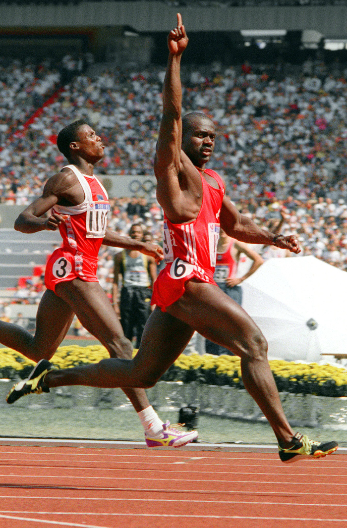 Carl Lewis (left), Ben Johnson (right)
