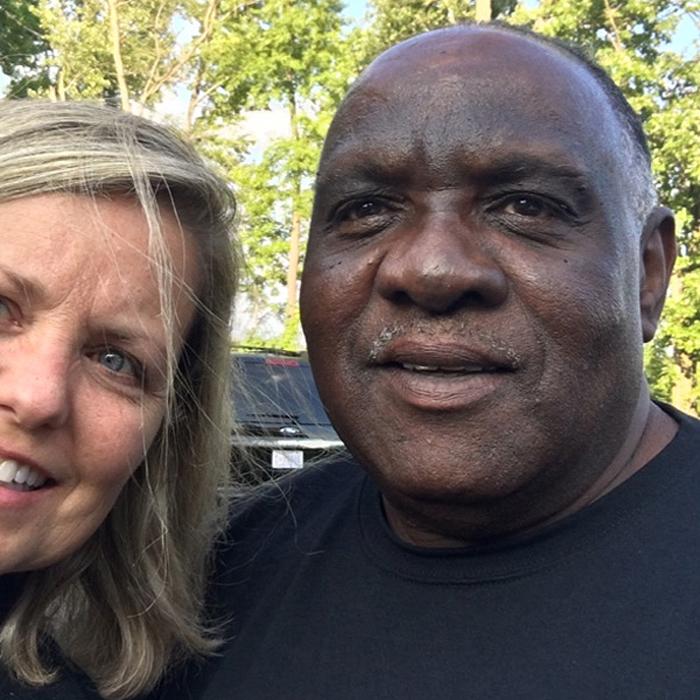 Ellis Hill (right) with Liz WIllock