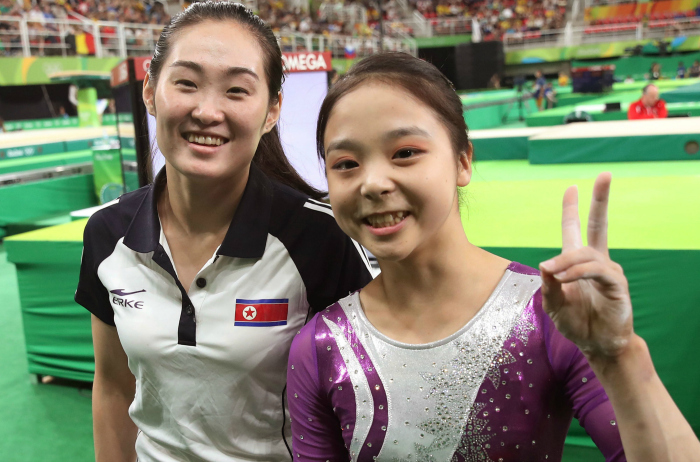Athletes from North and South Korea together