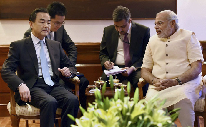 Chinese Foreign Minister Wang Yi & Prime Minister Narendra Modi