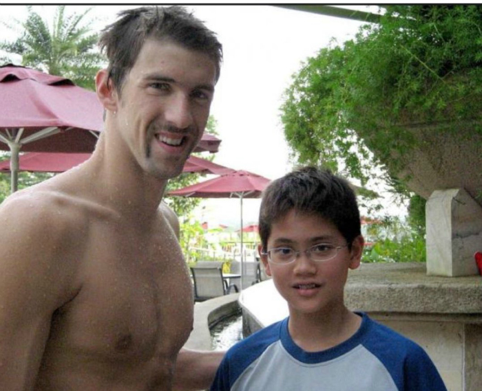 Phelps with a young Schooling