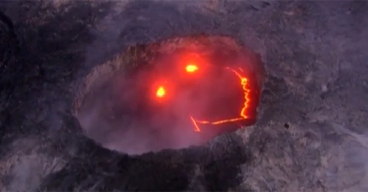 Smiley Face Appears In Volcano During Irruption