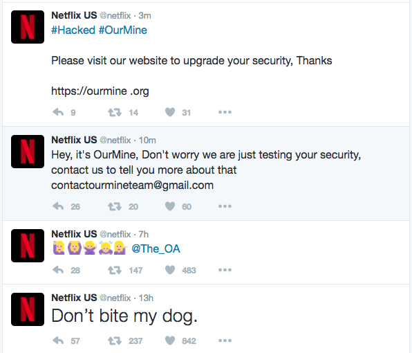 Netflix Twitter US Hacked By OurMine