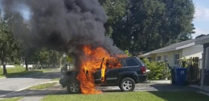 Samsung Galaxy Note 7 Fire SUV Florida Man
