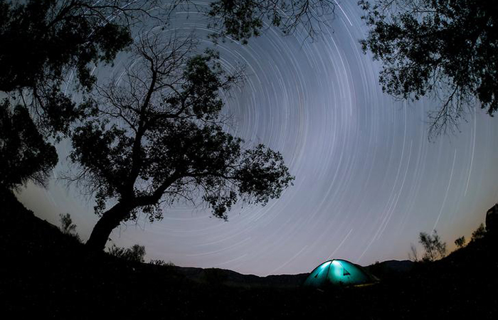 Star trails in the night