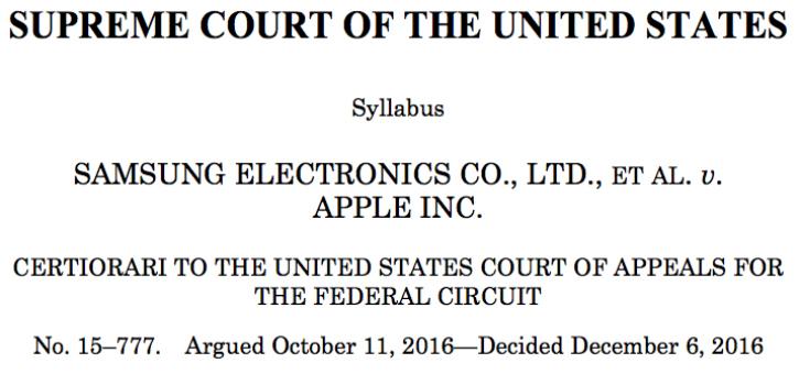 Samsung Apple US Supreme Court Judgement
