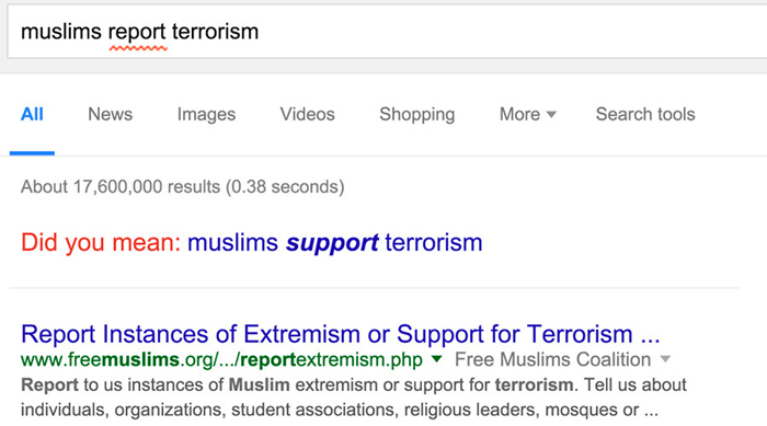 Muslims Support Terrorism, Google Accidentally Says