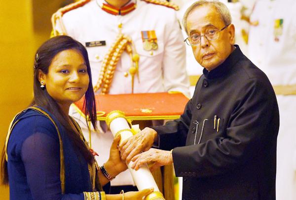 Arunimha receiving the Padma Shri