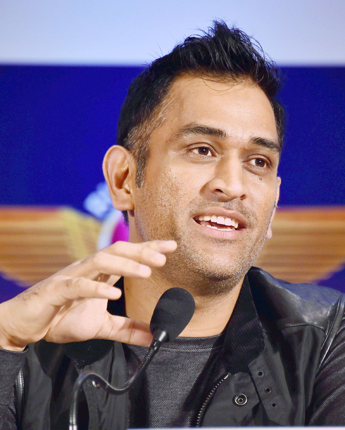 Dhoni speaks to the media