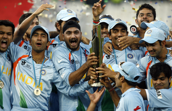 Indian team with the ICC World T20 2007