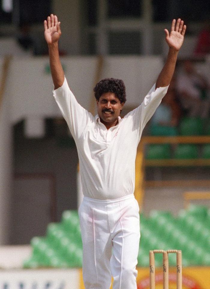 Kapil Dev celebrates a wicket