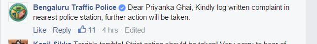 bengaluru police response fb