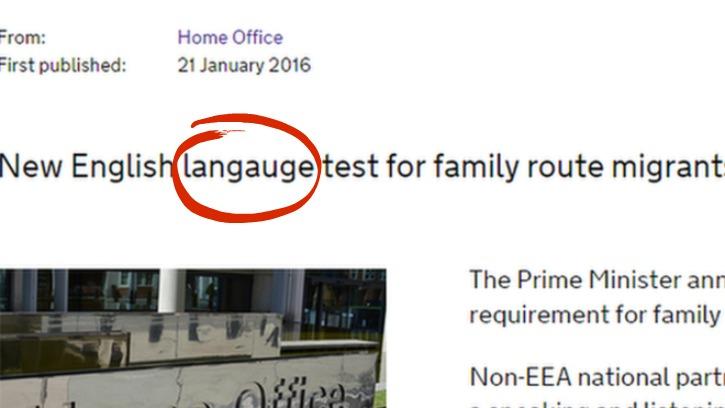 UK Officials Misspells