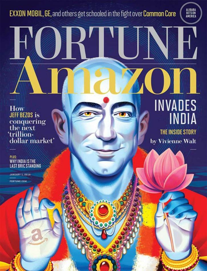 Amazon CEO Jeff Bezos Appears On Magazine Cover As Lord Vishnu, Irks Hindus