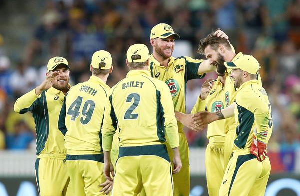 Australia celebrate fall of wickets