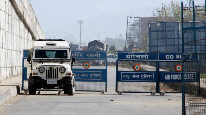 Air Force Police barricades Pathankot Airbase