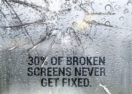 mobile phone screen breaking data