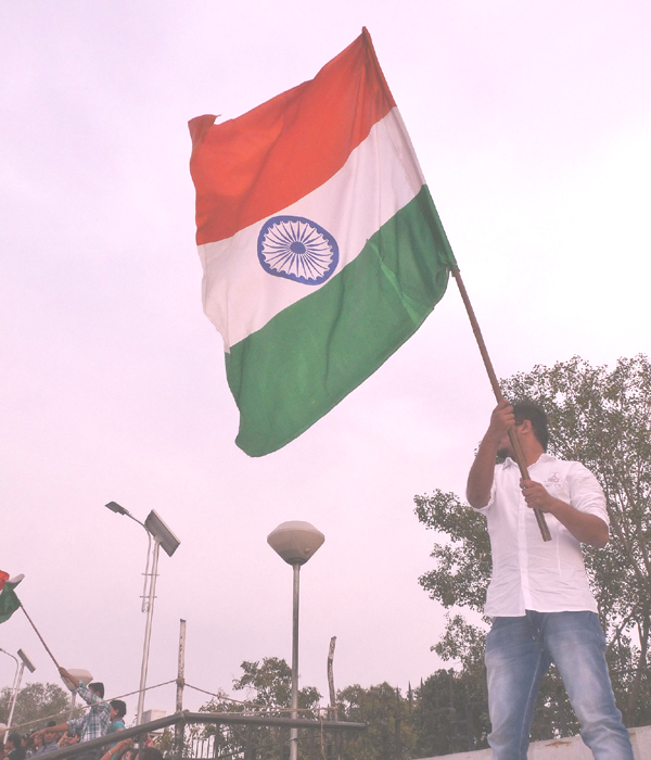 Indian flag hoisted by a spectator