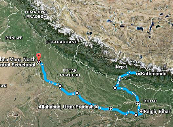 map nepal to delhi via UP and Bihar
