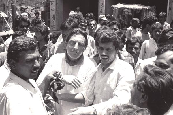 Pataudi (centre) during a Congress rally