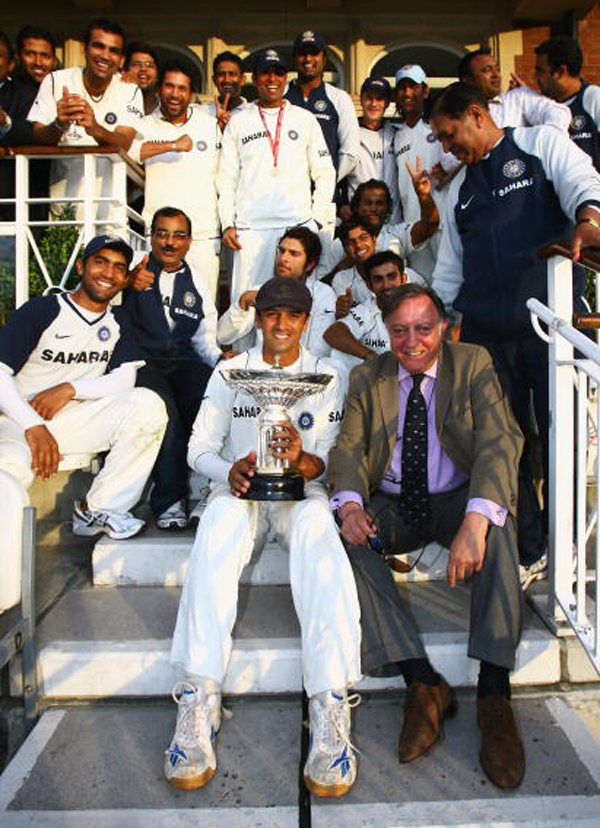 Tiger Pataudi with the Indian team that won the first Pataudi trophy in England in 2007