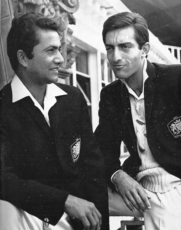 Pataudi with Pakistani great Hanif Mohammad (left) playing for the Rest of the World team
