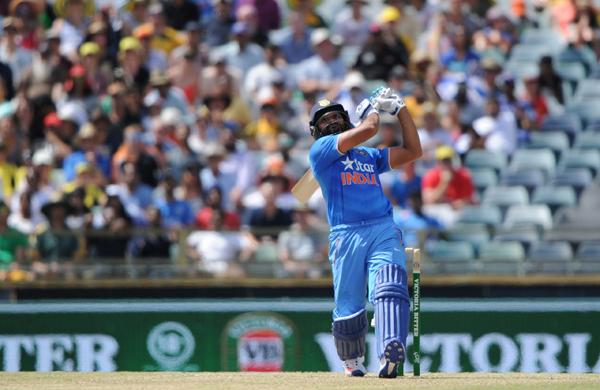 Rohit Sharma hits a six