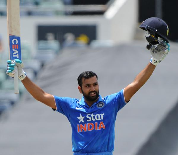 Rohit celebrates his ton