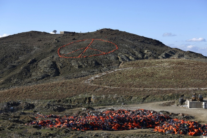 Peace Sign On Greek Island Syrian Refugees