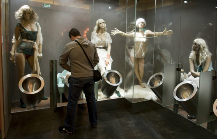 Public loo with racy mannequins