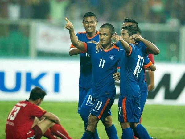 Sunil Chhetri celebrates the goal