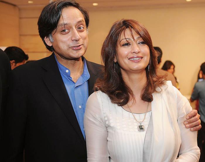 Shashi Tharoor along with his wife Sunanda Pushkar